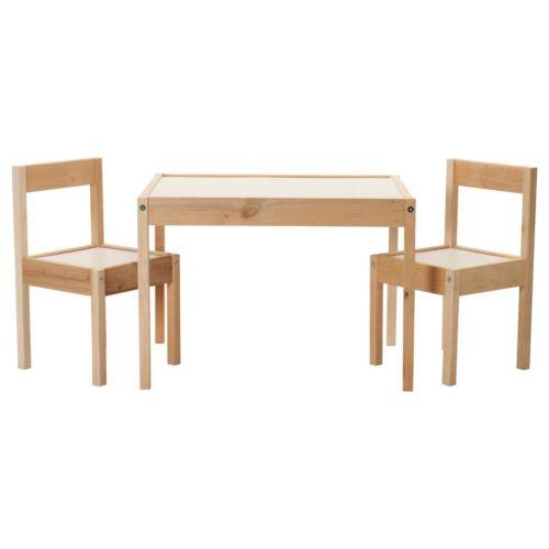 Good IKEA Childrens Table And 2 Chair Set White Pine Latt Kids | EBay