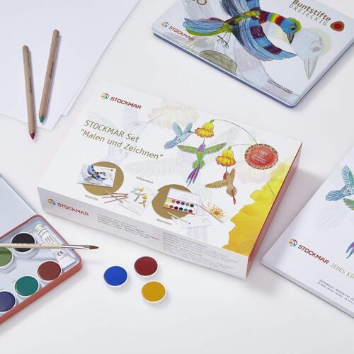 Stockmar Set 77001 Malen und Zeichnen mit Buntstifte Deckfarbkasten Zeichenblock