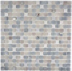 Glasmosaik-grau-Fliesenspiegel-Kueche-Wandverkleidung-Bad-WC-91-0204-10-Matten