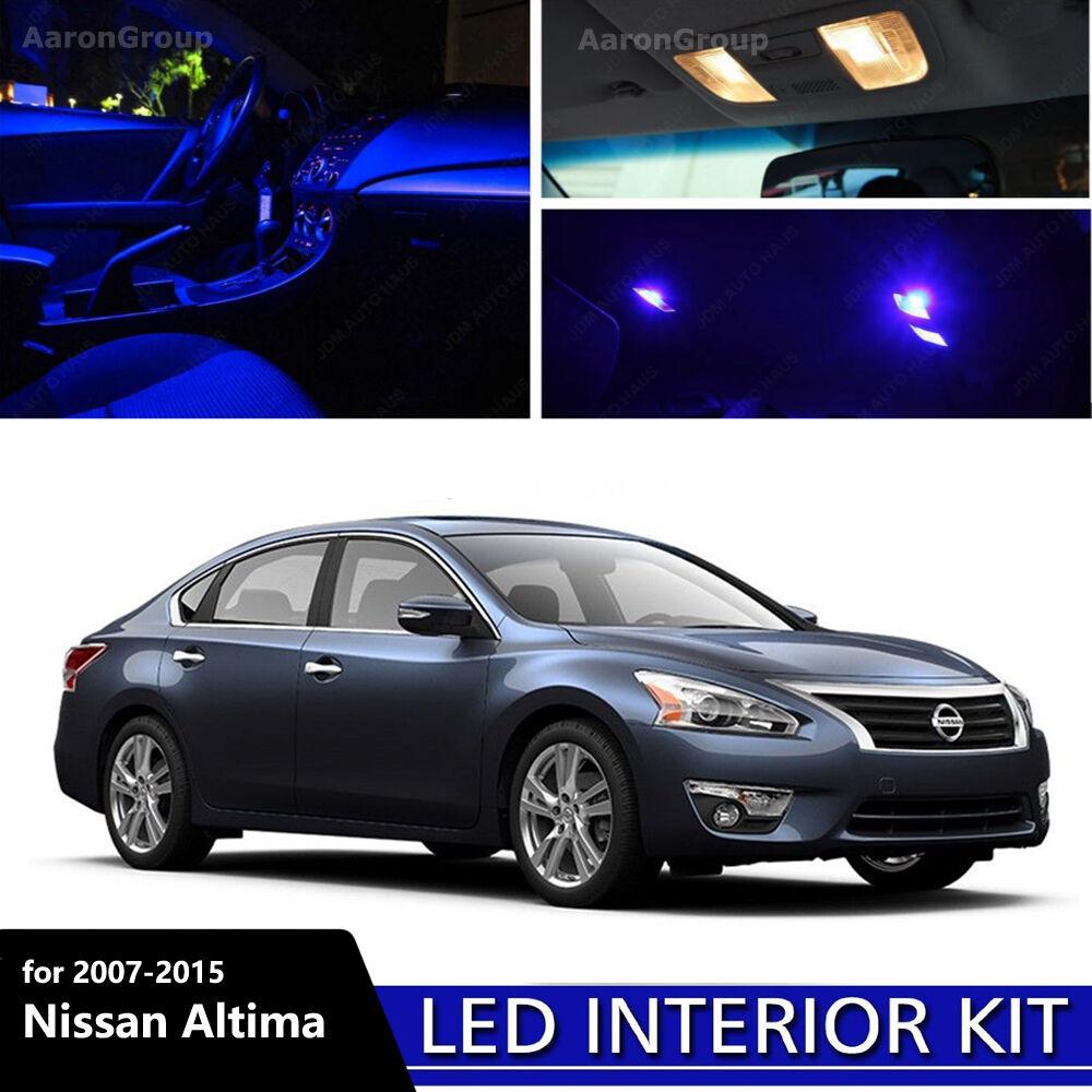 12PCS Blue LED Interior Light For 2007 2015 Nissan Altima White For License