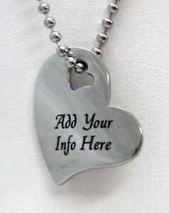 PERSONALIZED Stainless Steel Falling Heart Pendant Necklace HEARTS on Front