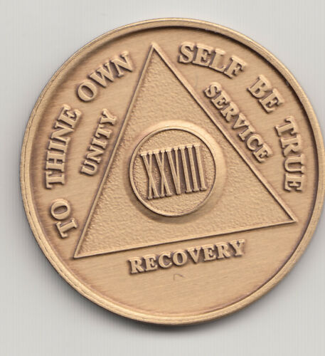 XXVIII Years 28 Years Alcoholics Anonymous AA recovery medal token chip coin