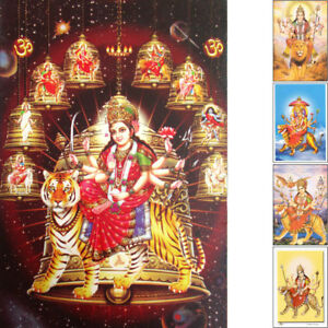 DURGA-Postkarte-Indien-unterschiedliche-Motive-Ishvari-Lakshmi-Tiger-Loewe-Vishnu