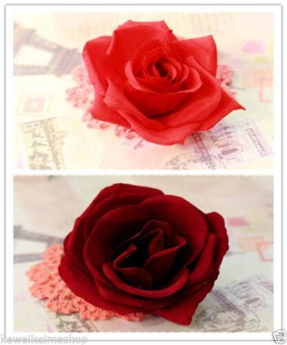 Molletta fermaglio spilla forma di rosa in stoffa colore rosso bordeaux a scelta