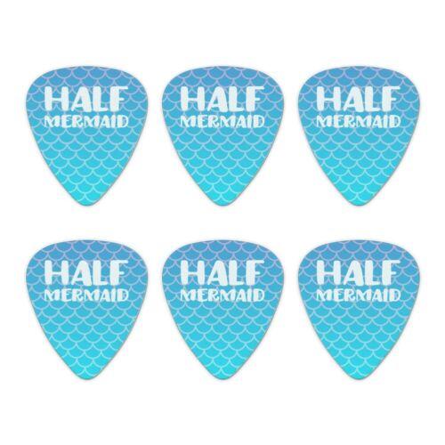 Half Mermaid With Blue Scales Novelty Guitar Picks Medium Gauge Set of 6