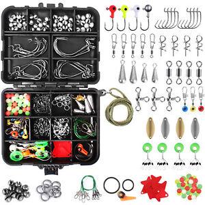 192PCS Fishing Accessories Kit set with Tackle Box Pliers Jig Hooks Swivels USA