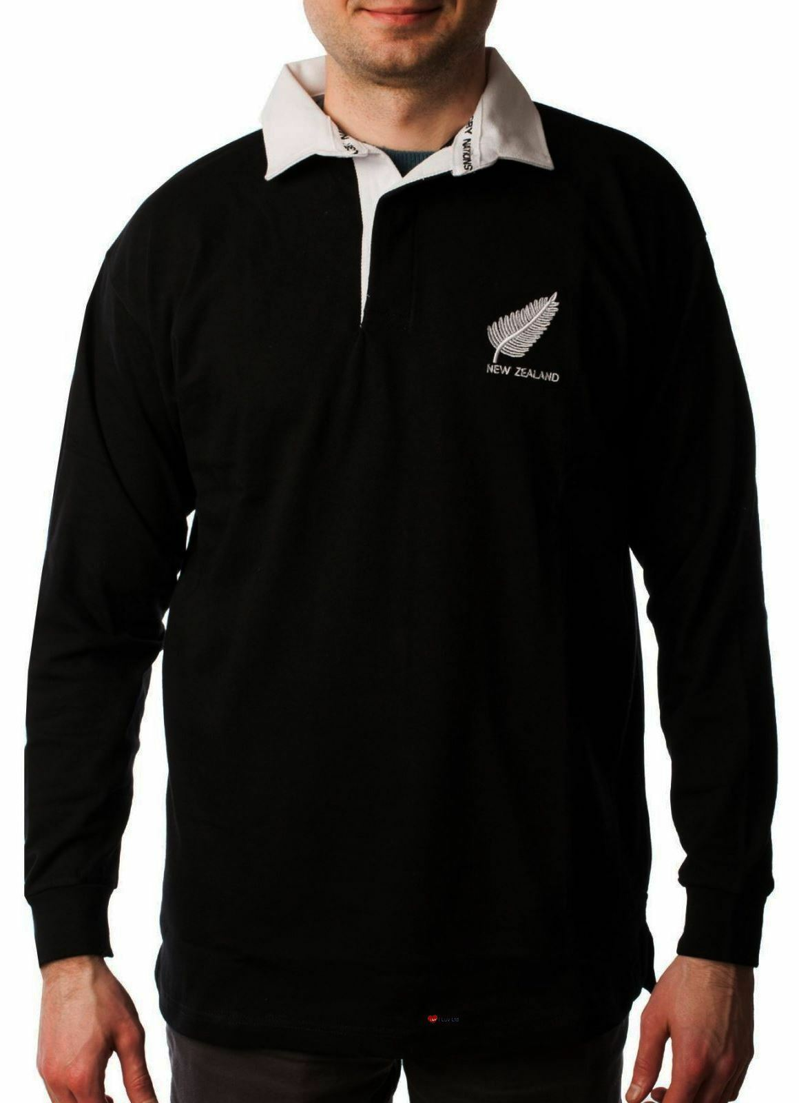 Mens Long sleeve navy New Zealand Rugby Shirt - X-Small