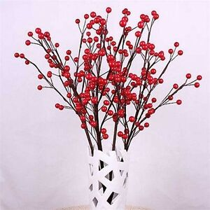 50PCS-Christmas-Red-Berry-Pick-Holly-Branch-Wreath-Xmas-Tree-Decoration-Craft-CA