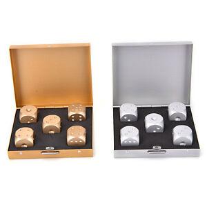 Gold-Silber-Quadrat-Aluminiumlegierung-Poker-Solid-Dominoes-Wuerfelspiel-Po-TPD