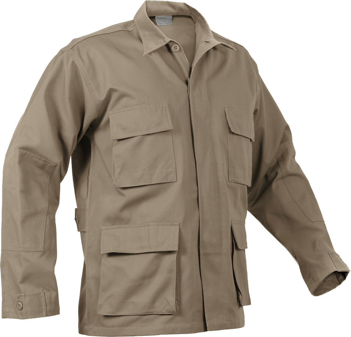 Mens Khaki Solid Long Sleeve Military BDU Shirt Coat Uniform Army Fatigues