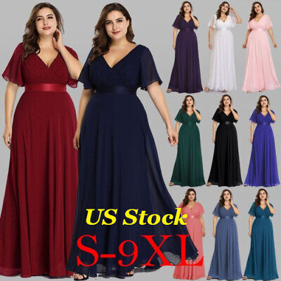 US Plus Size Long Formal V-neck Evening Party Dresses Christmas Prom Gowns  09890 | eBay