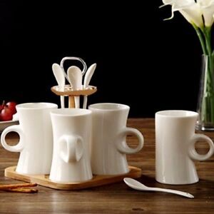 Image Is Loading 9pc Coffee Mug Set With Spoon And Bamboo