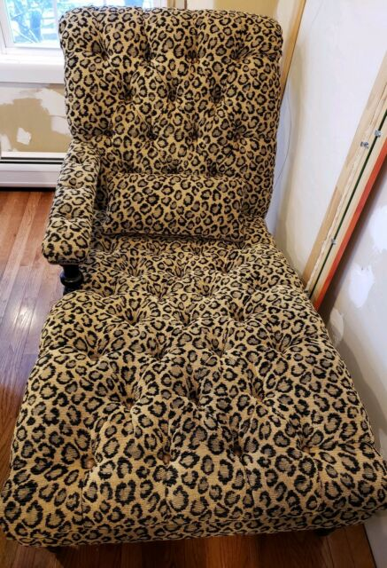 Chaise Lounge Chair Tufted And Leopard