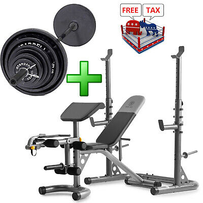fitness bench with weight set 210lb gym barbell equipment