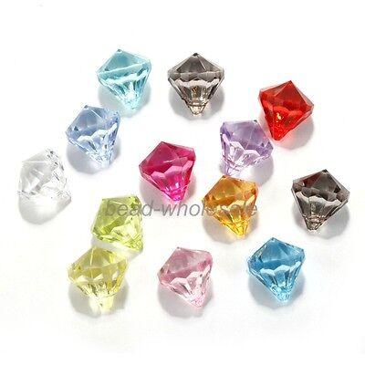 50Pcs Multi-Color Acrylic Crystal Tear drop Pendant Beads 14x12mm Making Jewelry