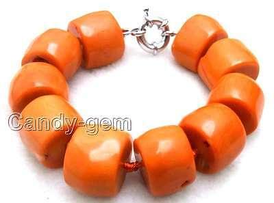 """SALE Big 15-20mm Natural High Quality Thick Slice Orange Coral 8.5"""" Bracelet-225"""