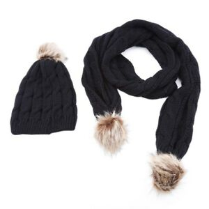 812e990e3d9 Scarf And Hat Set Women Warm Knitted Beanie Scarves Knit Skull Caps ...