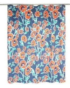 Image Is Loading New Threshold Windblown Floral Blue Orange Shower Curtain