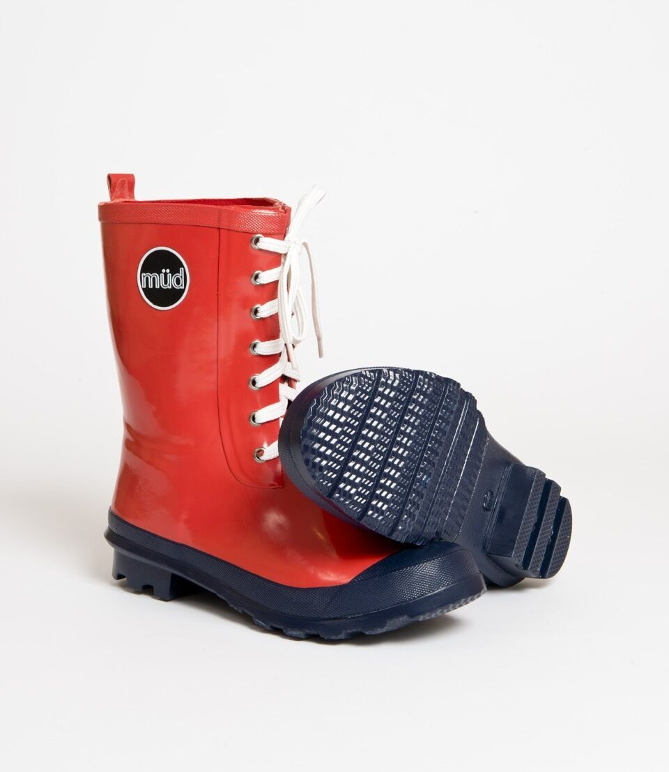 Müd Designer Wellington Boots - Red Ankle Booties - Rubber