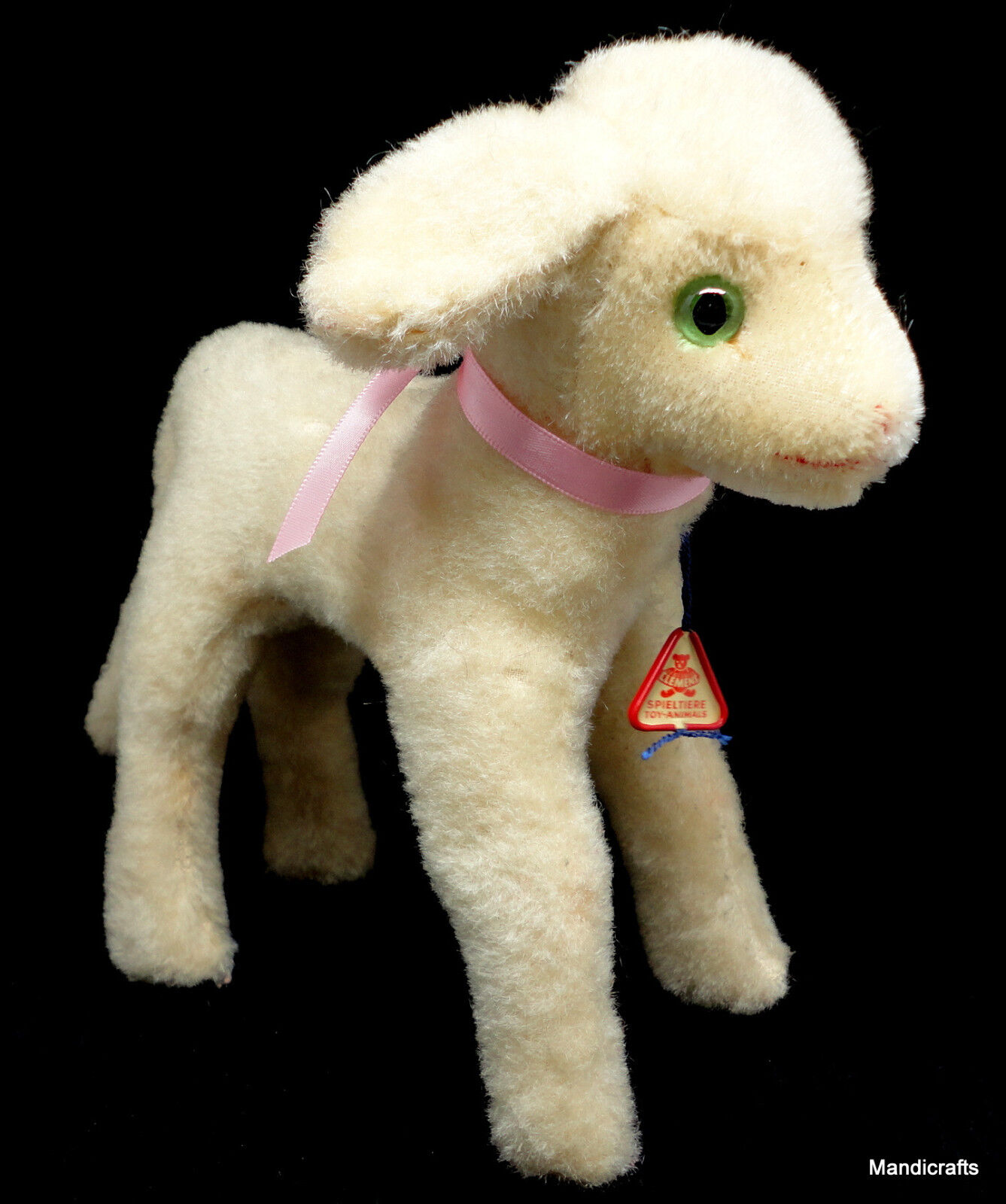Clemens Lamb Standing Wool Plush Sheep West Germany Swing Tag 22cm 9in 1960s Vtg