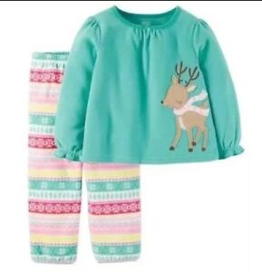 c4ad63c59 Carter s Just One You Fair Isle Teal Pajamas Reindeer 2 Piece Baby ...