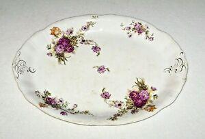 Antique-Anchor-Pottery-Trenton-NJ-Serving-Platter-Floral-Print-Dark-Red-Roses