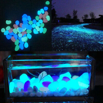 5Pcs Fashion Glow In Dark Pebbles Stone Home Decor Walkway Aquarium Fish Tanks
