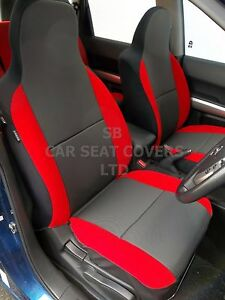 TO-FIT-A-AUDI-A2-CAR-FRONT-SEAT-COVERS-RAVEN-BLACK-POPPY-RED-TRIM