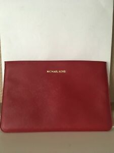 big sale 5fd97 f3062 Details about Michael Kors Red Sleeve for iPad/Tech Case Pouch Gold  Hardware Large 12.5