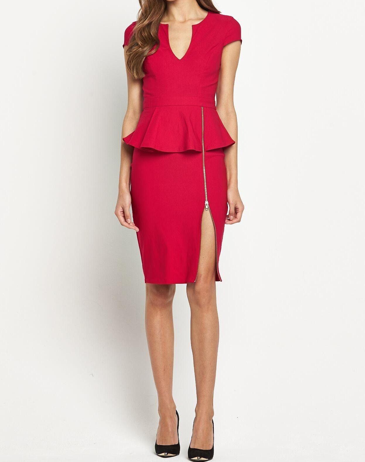 BNWT Red Lipsy Zip Skirt Detail Peplum Waist Shift Pencil Dress UK12 RRP