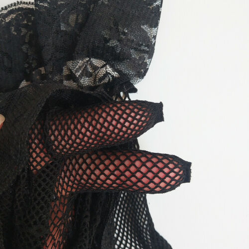 Lady Wrist Wedding Knit Mesh Bow Lace Gloves Bridal Party Prom Fishnet Gloves US