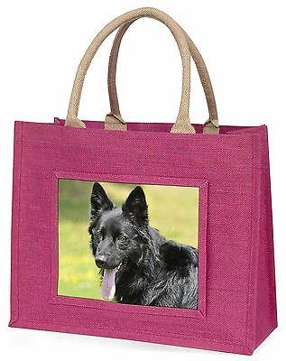 Schwarzer Deutscher Schäferhund Große Rosa Einkaufstasche
