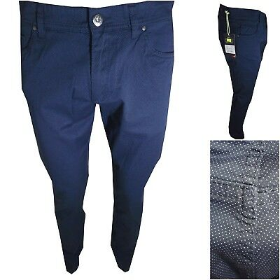 Guy Pantaloni uomo elasticizzati blu a pois jeans cotone estivi slim fit 48 54