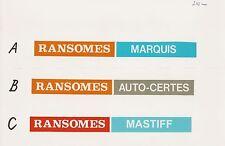 Ransomes Vintage Mower 1960s Marquis, Auto-Certes, Mastiff, Repro Decals