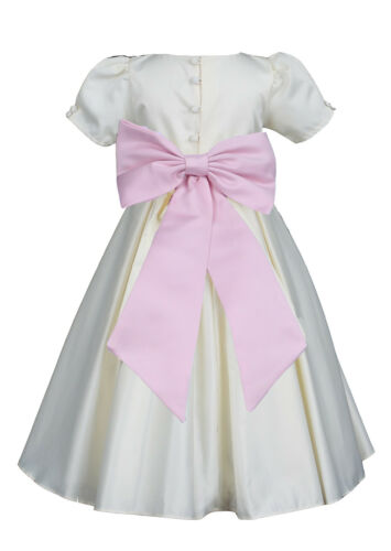 US Seller Ivory Pleated Short Sleeve Wedding Flower Girl Dress Many Bow Colors