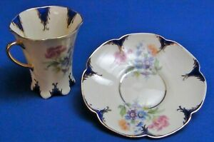 Vintage LENEIGE Porcelain Demitasse Teacup and Saucer Gold Trim Floral