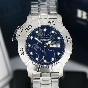 Mens-Watch-BEUCHAT-Oceanium-300mm-Steel-Blue-Dial-42mm-Divers-Watch-Swiss-Made