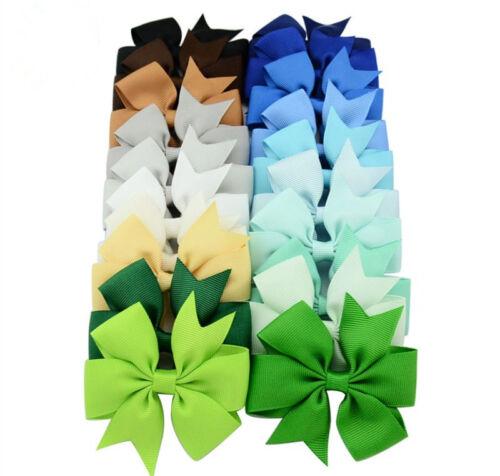 Cute Children Kids Hair Accessories Princess Bow Hair Clip Ribbon 40 colors