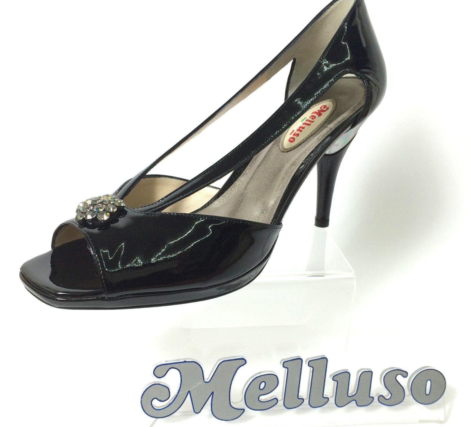 MELLUSO schuhe Damens SPUNTATA PELLE VERNICE NERO STRASS TACCO 9 CM ITALIAN Schuhe