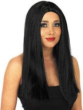 Adult Long Black Wig Morticia Addams Halloween Fancy Dress Costume Accessory