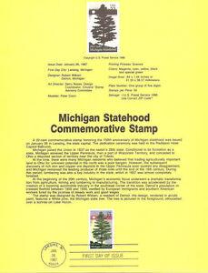 #8702 22c Michigan Statehood Stamp #2246 USPS Souvenir Page