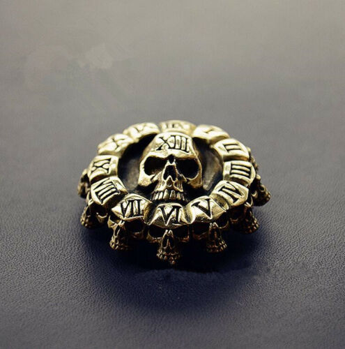Brass Skull Clock Biker Wallet Chain Connector Decorative Clasp Leathercraft