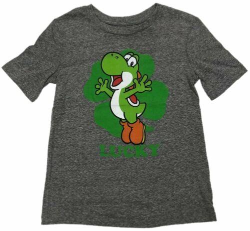 Details about  /Yoshi Lucky Shamrock Mario Bros Boys T-Shirt