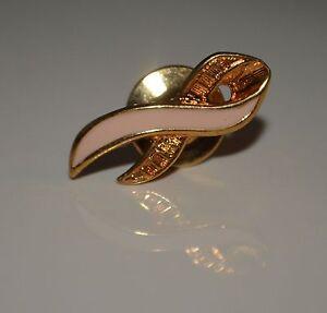 Avon-Gold-Metal-Tone-Metal-Pink-Enamel-Ribbon-Shape-Tie-Tack-Pin-Brooch