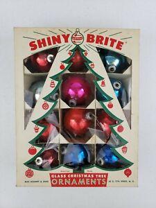 Vintage Dozen 12 Shiny Brite Pink Glass Christmas Ornaments Balls in Box