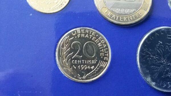 20 Centimes 1994 Scelle Coffret Franc Monnaie Paris Bu Fleur De Coin Fdc Neuf