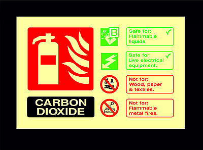 Fire Extinguisher ID Photoluminescent Sign CO2 FE31 Carbon Dioxide Sticker
