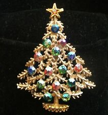 Vintage Weiss Matte Gold and Aurora Borealis Pastel Christmas Tree Pin Brooch