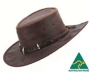 Image is loading Barmah-Outback-Bush-Leather-Hat-with-Crocodile-Teeth- 7b7038f1bf00