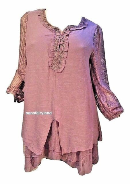 Pretty Angel Size S M L Mauve Dress / Top Sheer Sleeves Lace Layers 10898 MV